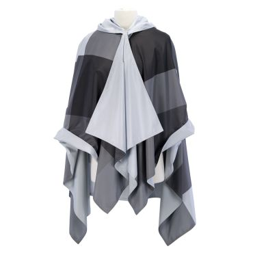 Grey Oversized Plaid RainCape